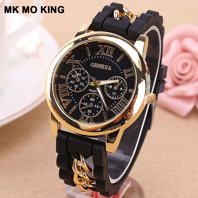 Top Brand Fashion Silicone Chain Roman Dial Watch Women Casual Black Red Ladies Bracelet Clock Zegarek Damski Reloj Mujer