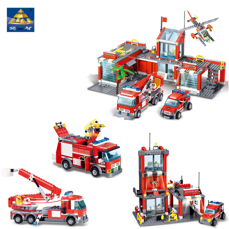 KAZI 4 Style Fire Fight Series City Fire Station Truck Helicopter Firefighter Building Bricks Blocks Toys For Children 8051 8052 ...