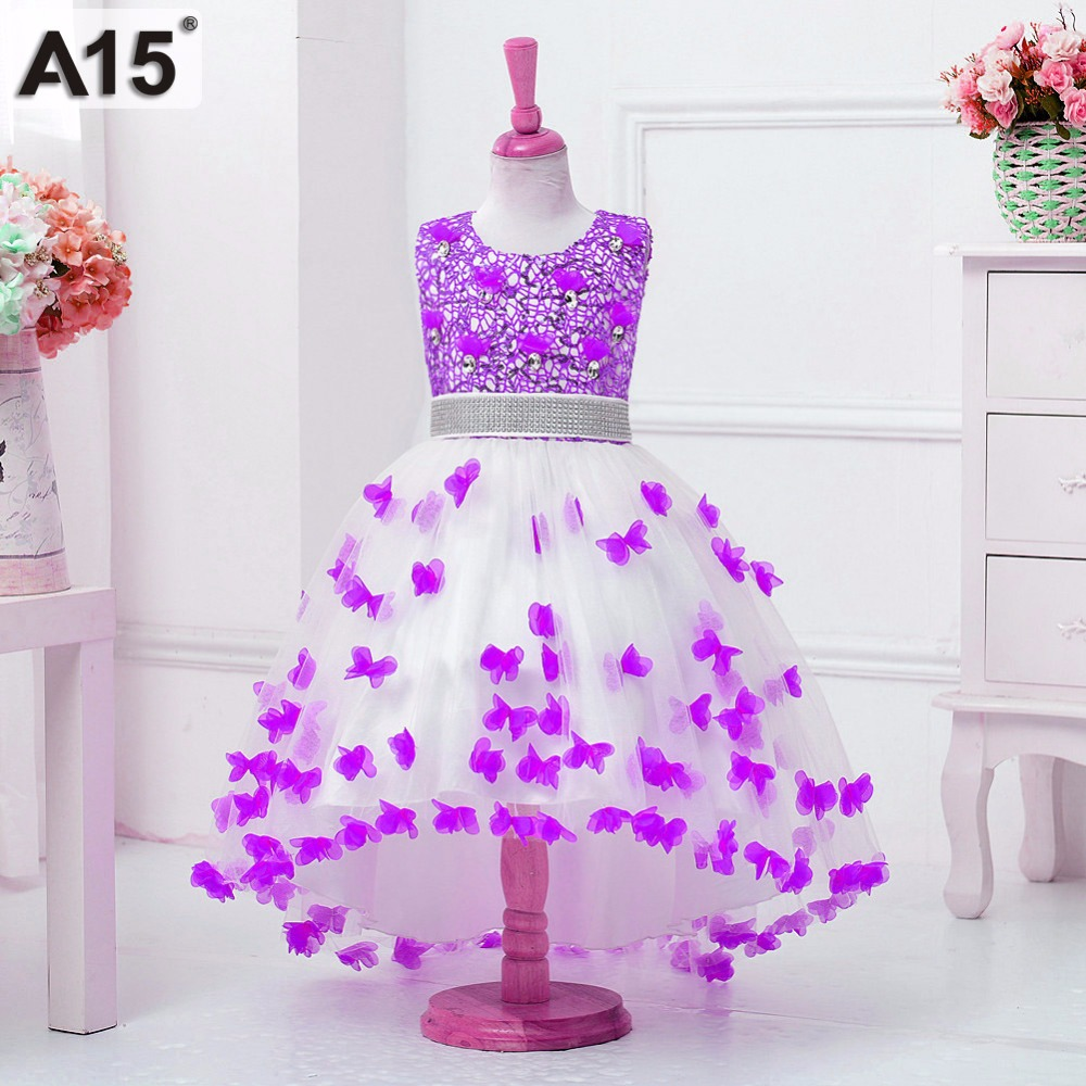 Girls Sequins Party Princess Dress Fancy Butterfly Wedding Flower Kid Pageant Formal Dress Prom Birthday Dress