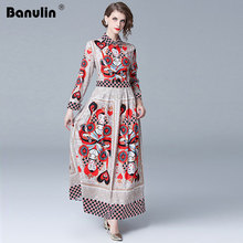 Banulin High Quality Luxury runway 2018 Autumn New Runway Maxi Dress Womens Long sleeve Flower Floral Print Shirt Dresses