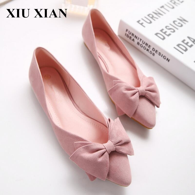 Korean Lady Ballet Flats 2017 Summer Black Pink Pointed Toe Flats Shoes Women Shoes Butterfly Slip on Rubber Shoe Plus Size35-43 enmayer pointed toe summer shallow flats slip on luxury brand shoes women plus size 35 46 beige black flats shoe womens