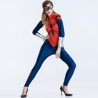 2016 New Carnival Spider Costume Women Halloween Costume Cosplay Anime Heroine Superman Uniform Tight Performance Clothing