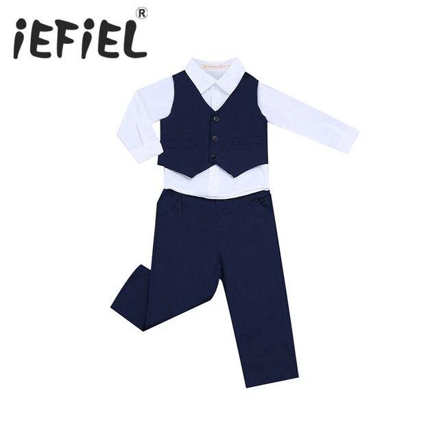 fcd492a70ef22 IEFiEL Marine Bleu 3 PCS Infantile Enfants Bébé Garçons Gentleman Partie  d anniversaire Tenues Manches
