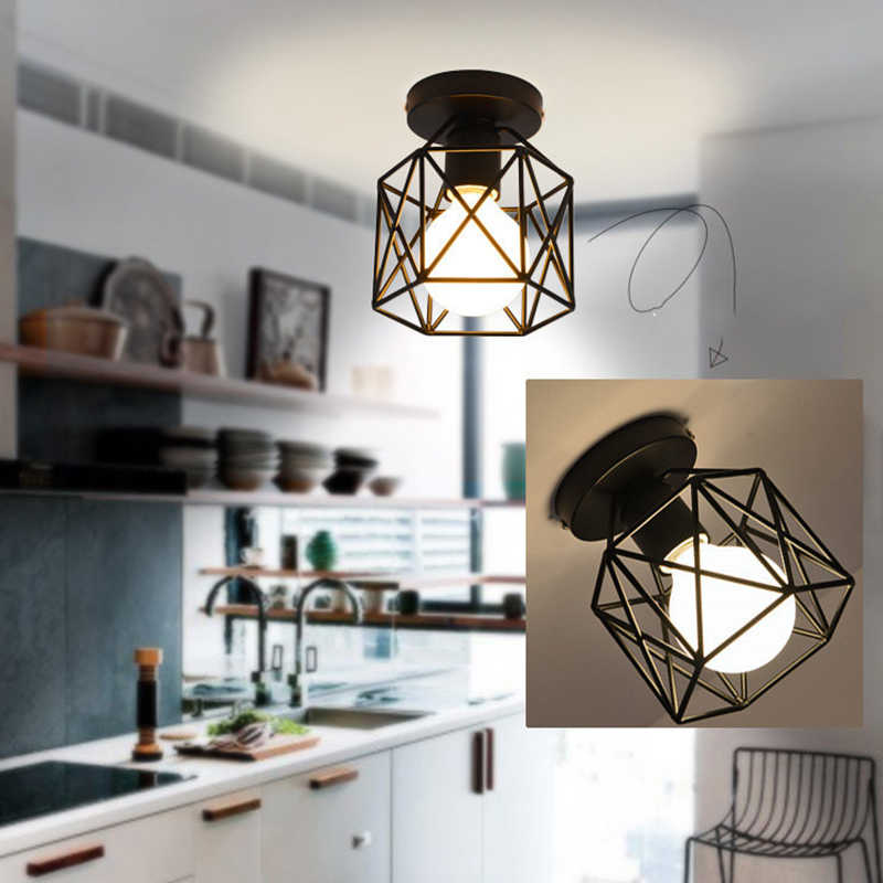 LED Iron E27 bulb Chandeliers led lamps living Room Dining Room Black Lamps led Square Pendant Lamp Light Energy Saving Bedroom