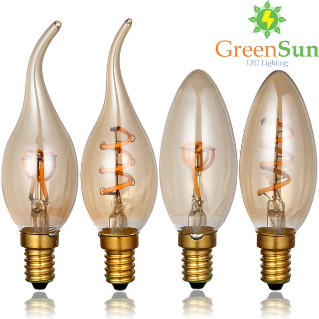 Gold Tint,E14 Edison LED Filament Bulb,C35 Vintage Spiral Lamp,Super warm 2200K,Soft Flexible Filament Cob LED Bulb,Dimmable AC