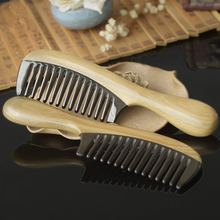 1PC Quality Green Sandalwood Comb Natural Black Buffalo Horn Stitching Sandalwood Comb Wide Tooth Comb G0413 green sandalwood combed wooden head neck mammary gland meridian lymphatic massage comb wide teeth comb