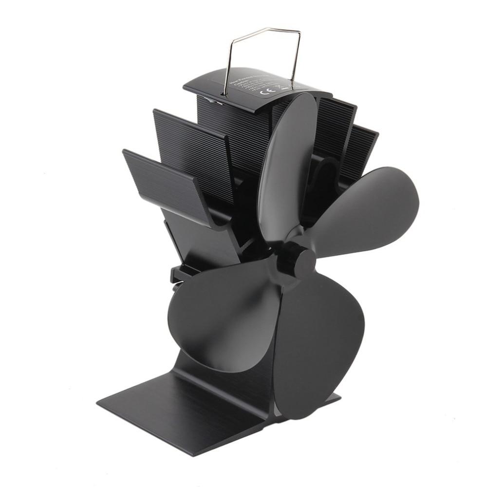 все цены на Durable 4 Blades Aluminum Black Heat Powered Stove Fan Fuel Saving Stove Fan Eco-friendly Wood Burner Stove Fan