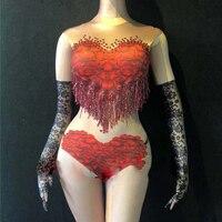 Red Tassel Print Rose Heart Type Sexy Bodysuit Stage Wear Female Singer Nightclub Nude Clothing Dance Sleeveless Jumpsuit DN3000