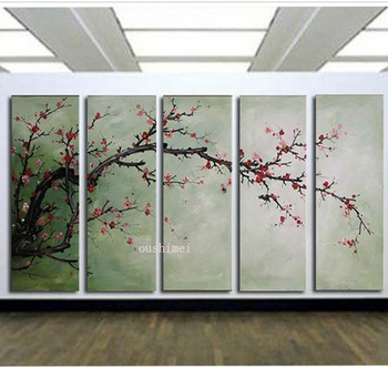 Handmade Paintings 5p Pictures On Canvas Oil Painting For Living Room Landscape Group Of Abstract Plum Blossom Picture Flowers