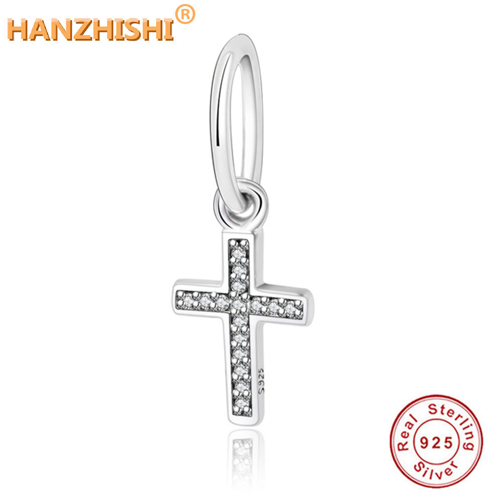 Solid 925 Sterling Silver Dangling Heart with Small Clear CZ Charm Bead