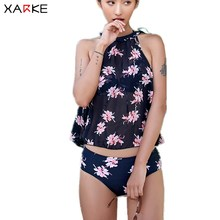 Купить с кэшбэком XARKE 4 Pieces Black Bikini for Women Push Up Swimsuit Beach Dress Skirt Female Swimwear Halter Sexy Swim Suit Lady Bahting Suit