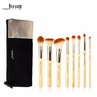 Jessup 8pcs Beauty Bamboo Professional Makeup Brushes Set T138 Cosmetics Bags Women Bag CB001