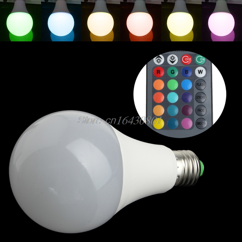 16 Colors Wireless Remote Control 85-265V E27 LED 20W RGB Changing Light Bulb #S018Y# High Quality 10w e27 led bulb lamp rgb stage light 12 colors led lights for home remote control brightness timing ac 85 265v rgb cool white