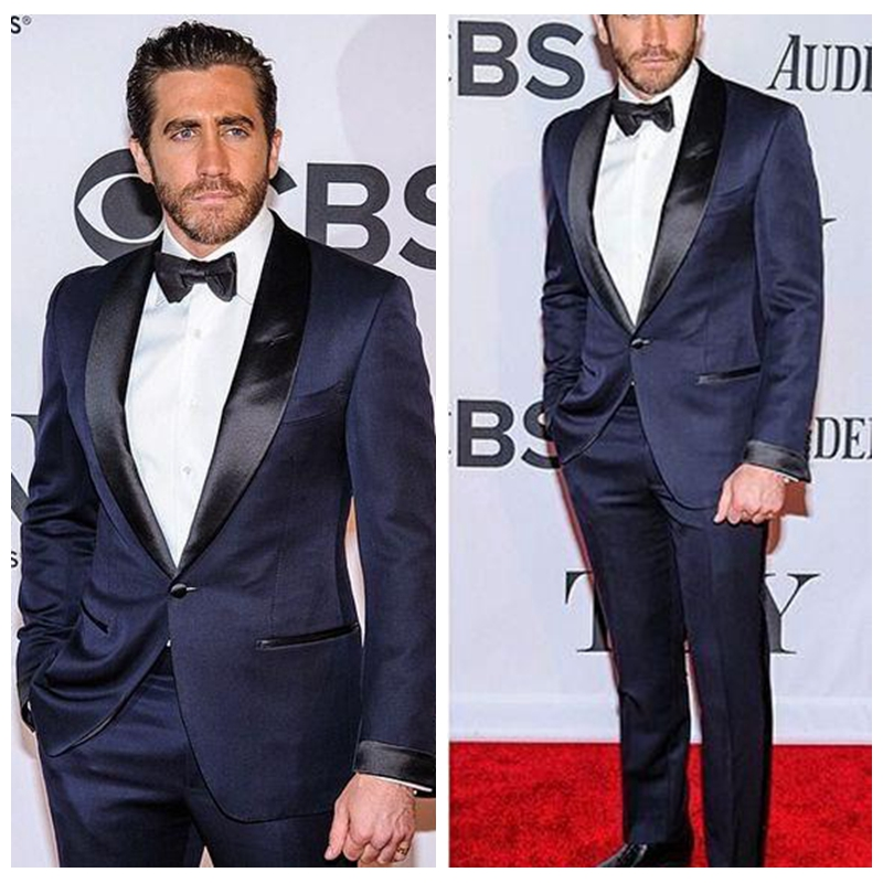 Dark Navy Celebrity Men Suits With Black Lapel Fit One Button Groomsmen Tuxedos Two Piece Handsome Business Suit (Jacket+Pants)