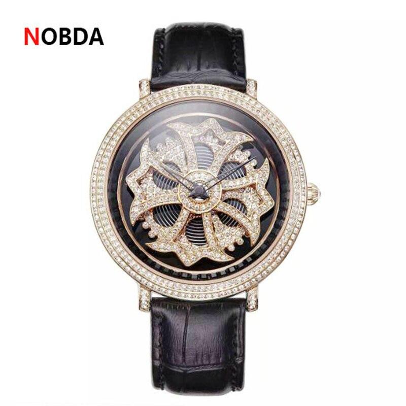 2017 New Luxury Fashion Women Genuine Leather Watch Women Dress Famous Brand Wrist Watch Rhinestone Crystal Quartz Ladies Watch