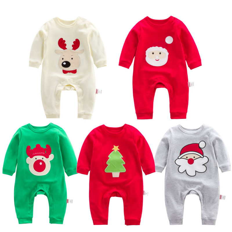 Christmas Embroidery Santa Clothing 100% Cotton Newborns Baby Boy Girl Clothes Spring Autumn Infant Long Sleeve Romper Pajamas christmas 100