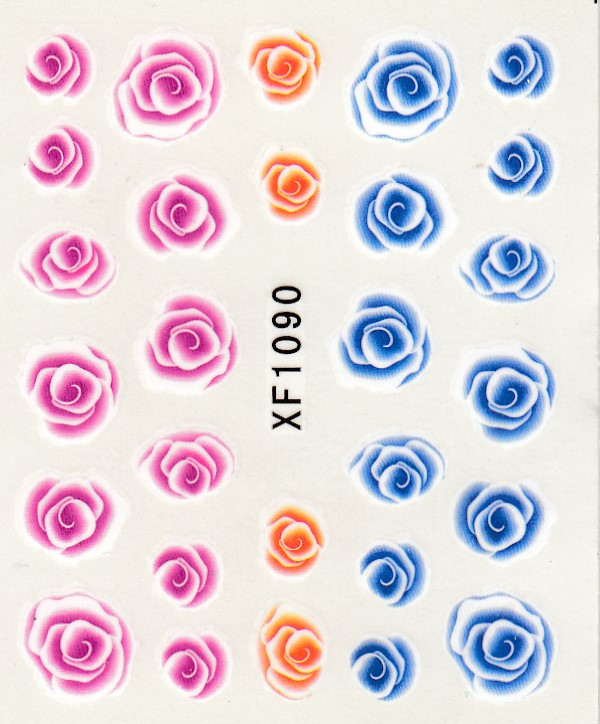 XF1090-Fashion New style Water Transfer Stickers 1 Sheets 3D Design DIY Nail Art Decorations Nail Sticker Nail Decal Nail Tools 3d content transfer