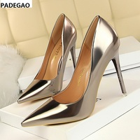 European and American fashion metal shoes with shallow mouth pointed sexy nightclub show thin single shoes