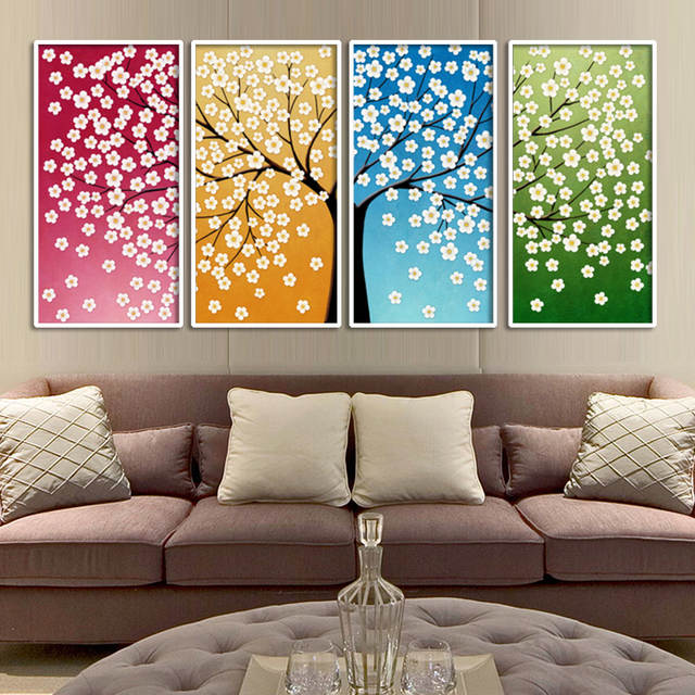 Online Shop Large Wall Art Home Decor Abstract Tree Painting