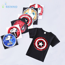 Avenger Marvel Spiderman Amerikaanse Captain Omkeerbare Sequin Kinder T-shirt Jongens Glitter T-shirt Kid Magic Verkleuring Tops