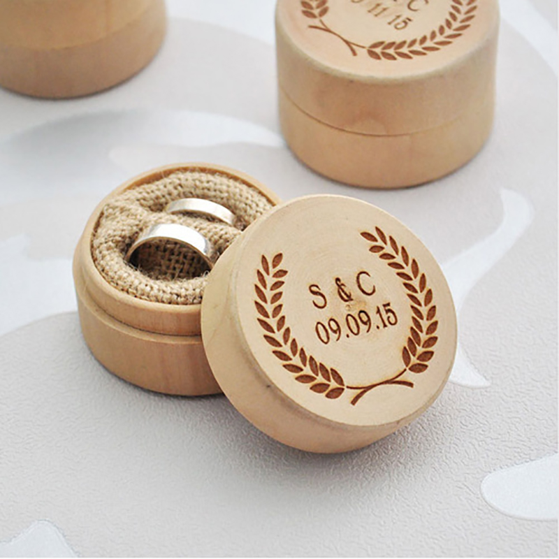 1pc Personalized Valentines Day Engagement Wooden Ring Bearer Box Rustic Wedding Ring Box Holder Wedding Supplies High Quality