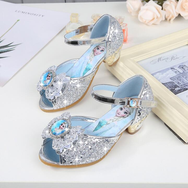 New Girls Sandals High Heels Children Fashion Princess Leather Summer Elsa Shoes Chaussure Enfants Fille Sandalias Nina