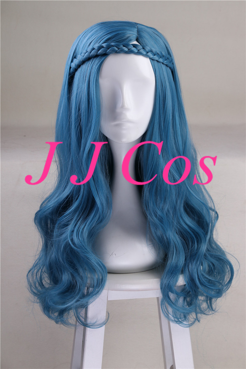 US $20 98 |Descendants 2 Evie Cosplay Costume Long Wave Blue Synthetic  Women Girls' Party Hair with Braid-in Boys Costume Accessories from Novelty  &