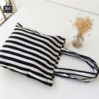 Classic black&white stripes 100% cotton canvas Handbags large capacity Shopping Beach Bags Women Girl Shoulder bags 1