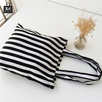Classic black&white stripes 100% cotton canvas Handbags large capacity Shopping Beach Bags Women Girl Shoulder bags 1