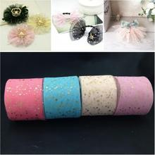 6cm*25Yard Star Confetti Glitter Tulle Mesh Spool Tutu Props, Doll Clothes Pom Soft Squine DIY Wedding Birthday Decoration