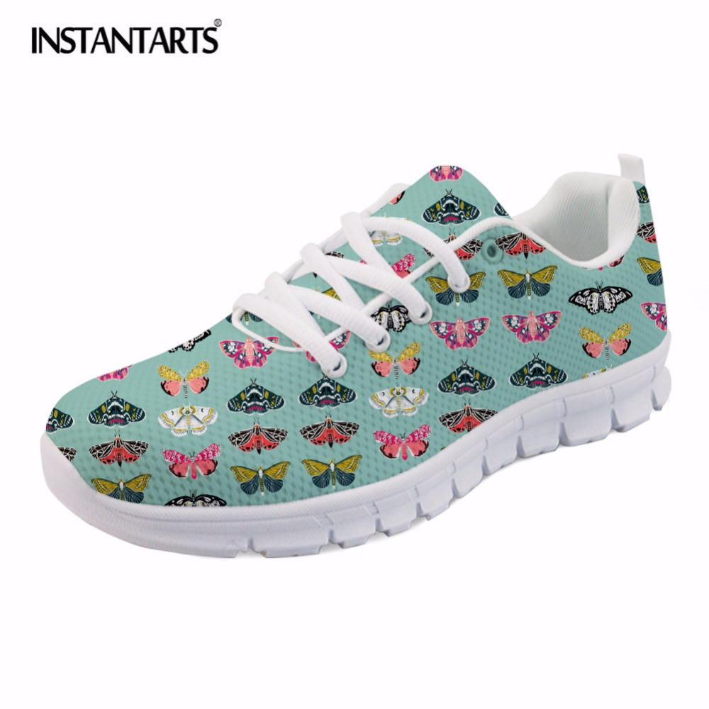 INSTANTARTS Summer Lace Up Flat Shoes Women's Moths Butterflies Moths Lepidoptery Insects Wings Print Mesh Sneakers Light Shoes instantarts women flats emoji face smile pattern summer air mesh beach flat shoes for youth girls mujer casual light sneakers