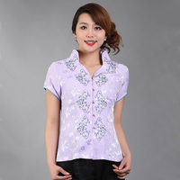 High Quality Purple Summer Chinese Style Blouse Women Short Sleeve Shirt Tops Flower Blusa Feminina S