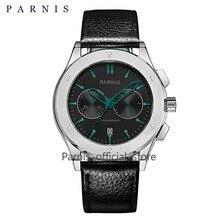41mm Parnis Watch Men Quartz MensWatches Top Brand Luxury Military Pilot Quartz Men Watch Genunie Leather 50Bar Waterproof Swim