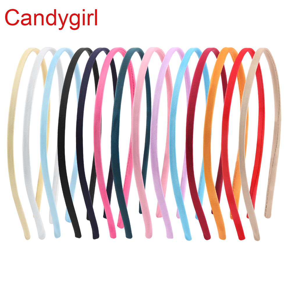 14pcs New Fashion Covered Hairbands Satin Headband Cute Hair Ribbon Hairband Solid Candy Color Headdress Girls Hair Accessories in Hair Accessories from Mother Kids
