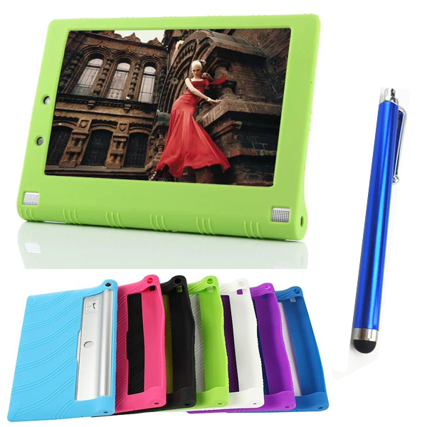 Moda na 10.1 cal Lenovo tablet case NEW Hot Dla Lenovo Yoga Tablet 2 1050 1050F Silikon skrzynki pokrywa + stylus