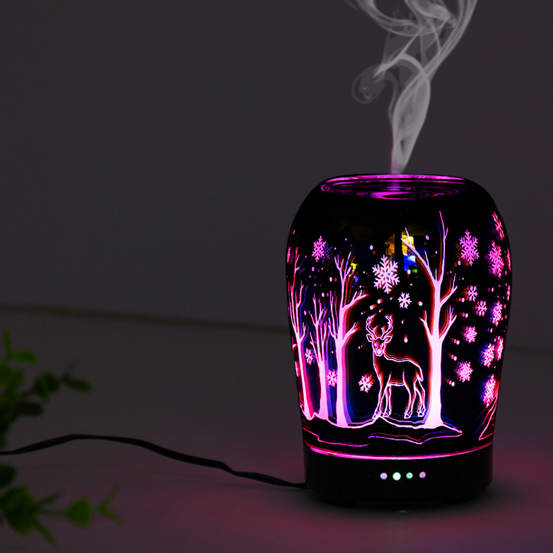 3D snowflake deer night light glass humidifier aromatherapy machine home ultrasonic with colorful change function Lamp недорго, оригинальная цена