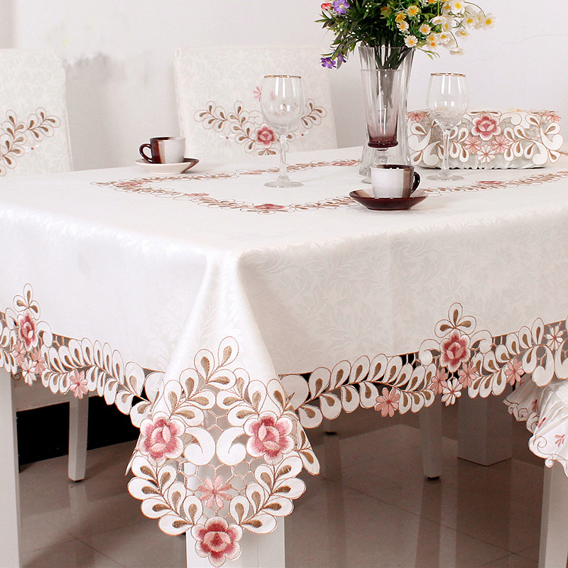 WLIARLEO New Square Dust Proof Tablecloth Europe Satin Embroidered  Tablecloth Floral Hollow Table Cover Tableclothes