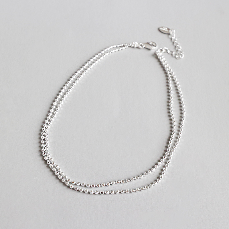 925 sterling silver female ankle foot leg bracelet accessories,simple beads double layered bead chains anklets for women jewelry