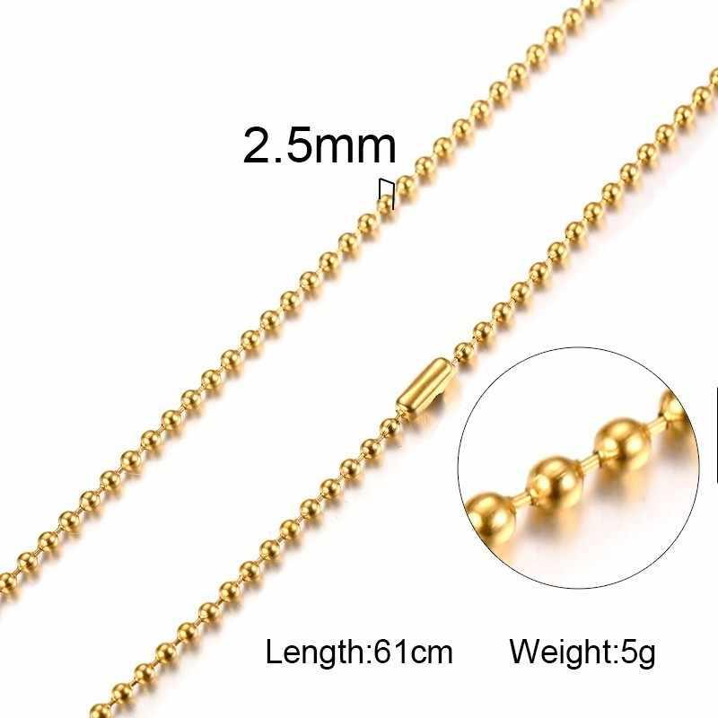 2.5mm koraliki naszyjnik łańcuch ze stali nierdzewnej męskie łańcuchy srebrny czarny złoty kolor Metal Ball pudełko linków Choker 20 cal biżuteria męska