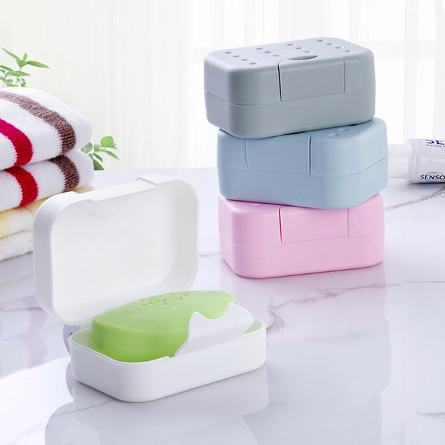 1pc Soap Dish For The Bathroom Plastic Waterproof Lock Leak Holder Box With Lid
