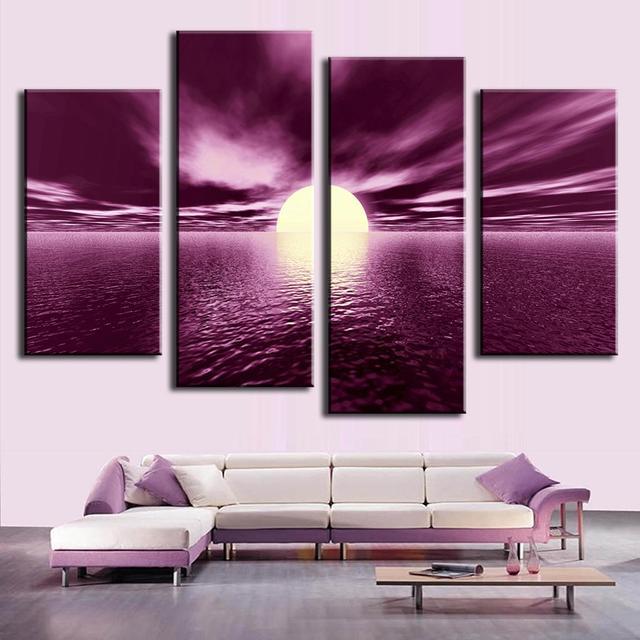 4 Pcs Set Pop Landscape Purple Wall Art Painting Prints