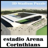 Clever&Happy 3D puzzle football stadium Corinthians stadium puzzle model Games Brazil Stadium souvenir Toys Halloween Christmas