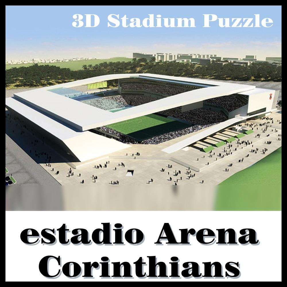 Mądry i szczęśliwy 3D puzzle piłka nożna stadion koryntian stadion puzzle model gry brazylia stadion pamiątkowe zabawki Halloween boże narodzenie