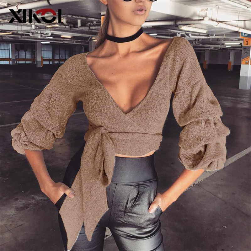 XIKOI женский сексуальный свитер рубашка Глубокий v-образный вырез со шнуровкой тонкие укороченные свитера Топы женские повседневные трикотажные пуловеры и свитера осень