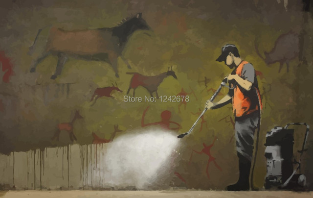 Banksy Graffiti Cleaning Man Oil Painting On Canvas Abstract Street Art Wallpaper Home Decor Collectibles
