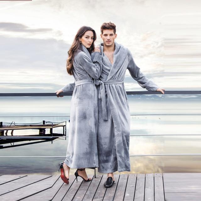 Women s Long Robes Fleece Flannel Floor- Length Plus Size Bathrobe Robes  Sleepwear Loungewear Nightgown 31a153b68