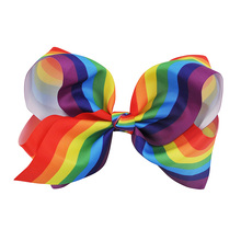 1 Pc 8'' New Design Fashion Handmade Boutique Rainbow Striped Sweet Hair Bow With Alligator Clip For Kids Girls Hair Accessories