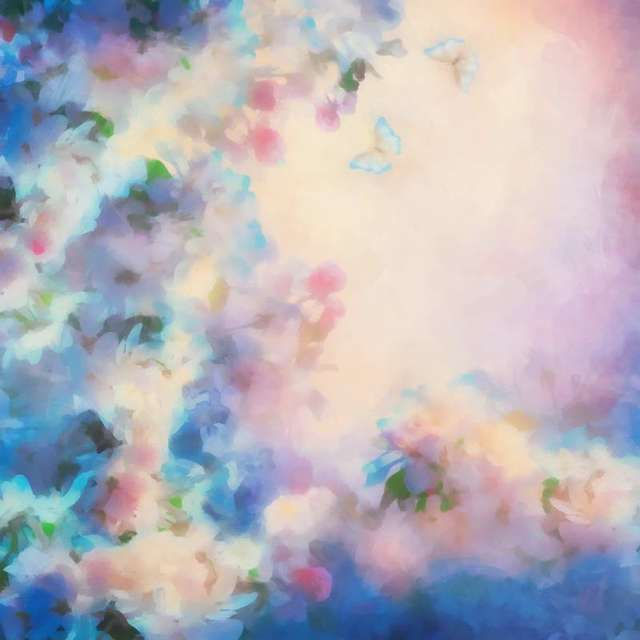 Tr 7x5ft Bokeh Azzurro Sfondi Rosa Fiori Con Farfalla Fondali In