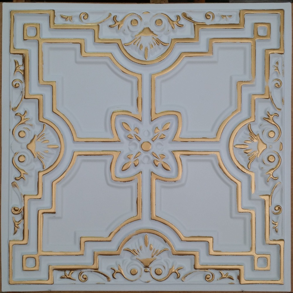 Pl16 faux tin ceiling tile white gold color 3d restaurant cafe pl16 faux tin ceiling tile white gold color 3d restaurant cafe night club decorative tin wall panels 10tileslot in decorative films from home garden on amipublicfo Gallery