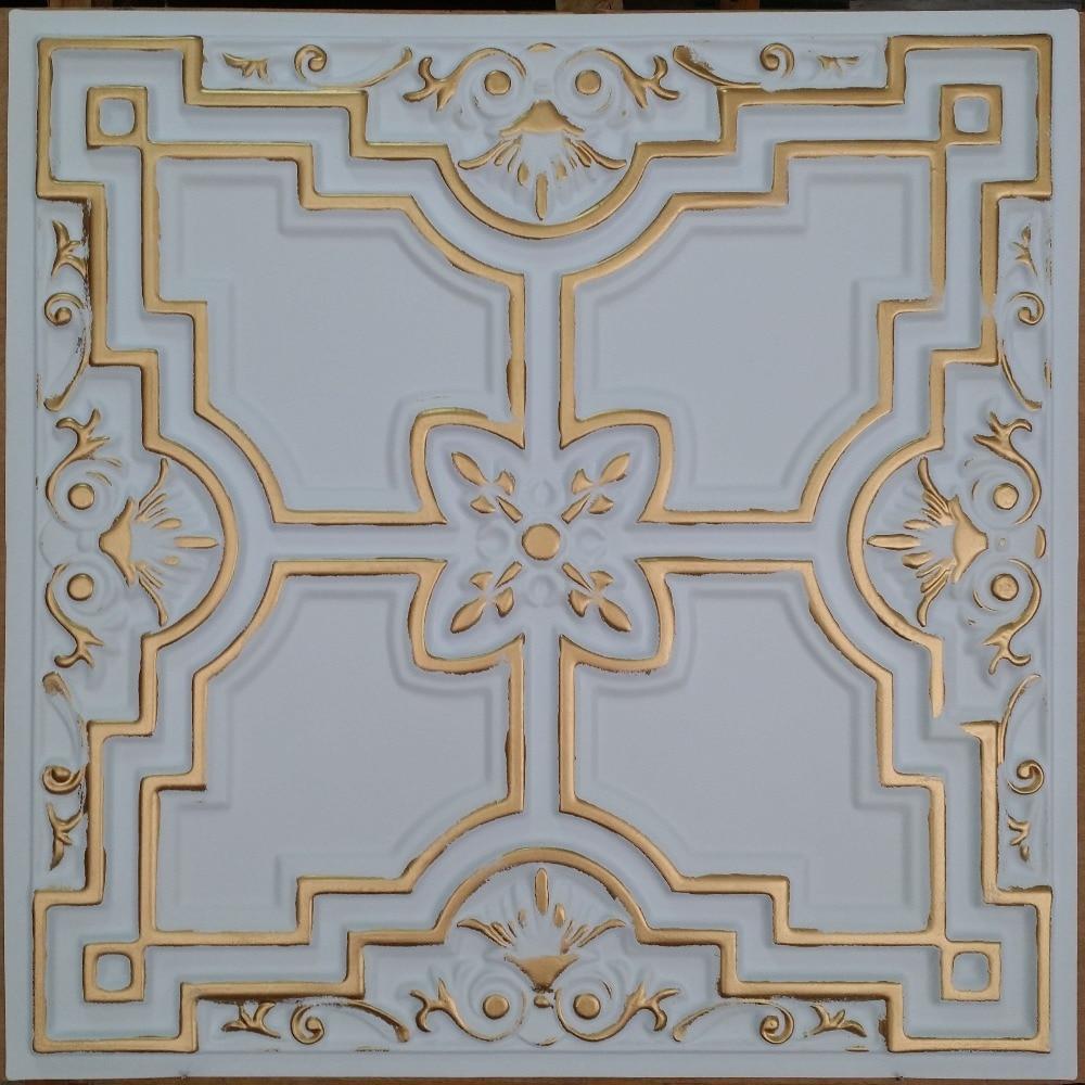 Pl16 Faux Tin Ceiling Tile White Gold Color 3d Restaurant